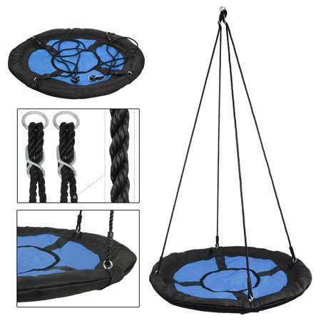 "ZENY 40"" Waterproof Saucer Web Swing Or Saucer Tree Swing - 360 Rotate° - Attaches to Trees or Existing Swing Sets - Adjustable Hanging Ropes - for Kids, Adults and Teens"