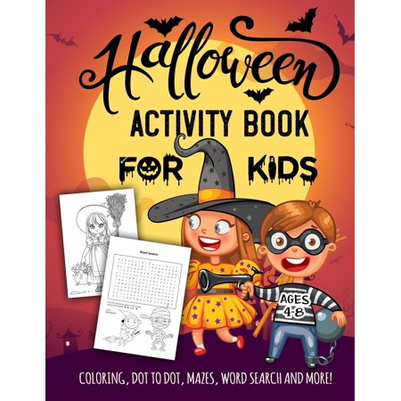 Spooky Halloween Tree Coloring Page (Halloween Activity Book for Kids Ages 4-8: A Spooky Fun Workbook For Learning, Jack O Lantern Ghost Coloring, Dot To Dot, Mazes, Word Search and More!)