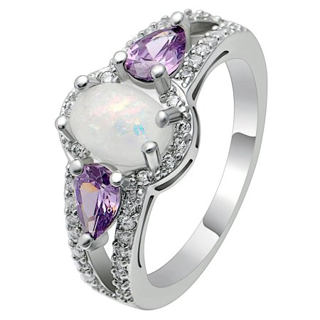 Chelsey Oval Shape Lab Created Fire Opal Purple CZ Ring - Ginger Lyne