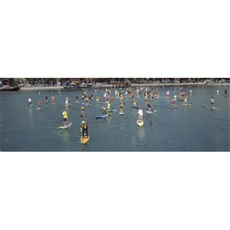 Panoramic Images PPI134513L Paddleboarders in the Pacific Ocean  Dana Point  Orange County  California  USA Poster Print by Panoramic Images - 36 x (Orange California Mall)