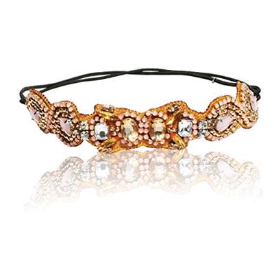 Bridal Wedding Soft Pastel Pinks and Canary Yellow Rhinestone Diamond Adjustable Headband Elastic Vintage - Diamond Headband