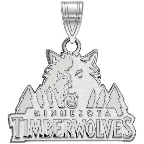 LogoArt NBA Minnesota Timberwolves 10kt White Gold Medium Pendant