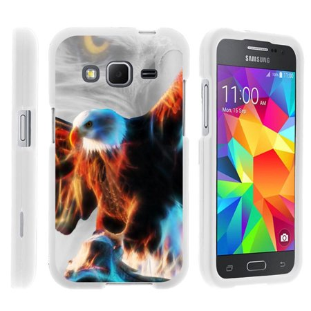 Samsung Galaxy Core Prime G360, [SNAP SHELL][White] 2 Piece Snap On Rubberized Hard White Plastic Cell Phone Case with Exclusive Art -  Blazing Eagle