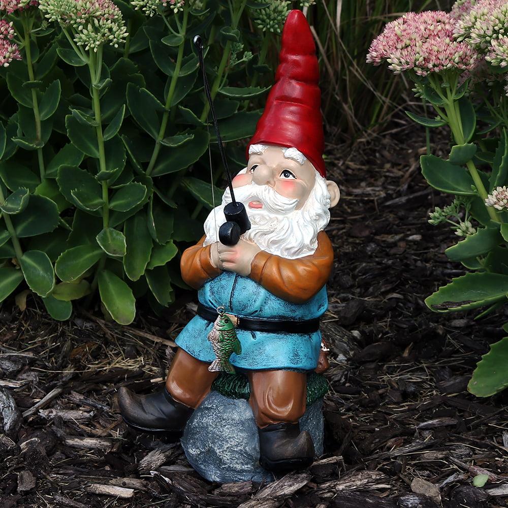 Sunnydaze Cody the Garden Gnome Reading Phone on the Throne, 9.5 Inch Tall by Sunnydaze Decor
