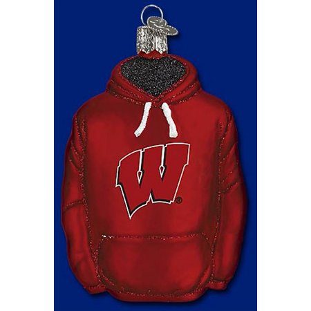 Old World Christmas University of Wisconsin Badgers Hoodie Blown Glass Ornament ()