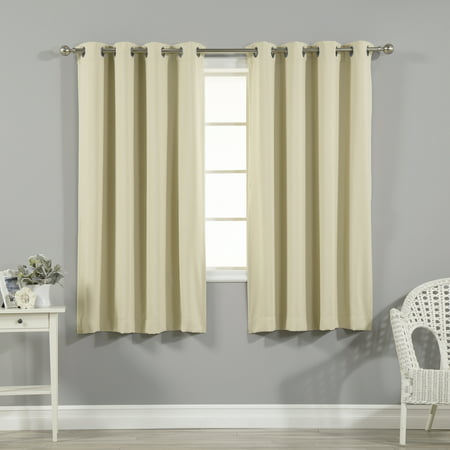 Quality Home Thermal Insulated Blackout Curtains - Stainless Steel Nickel Grommet Top - Beige - 52