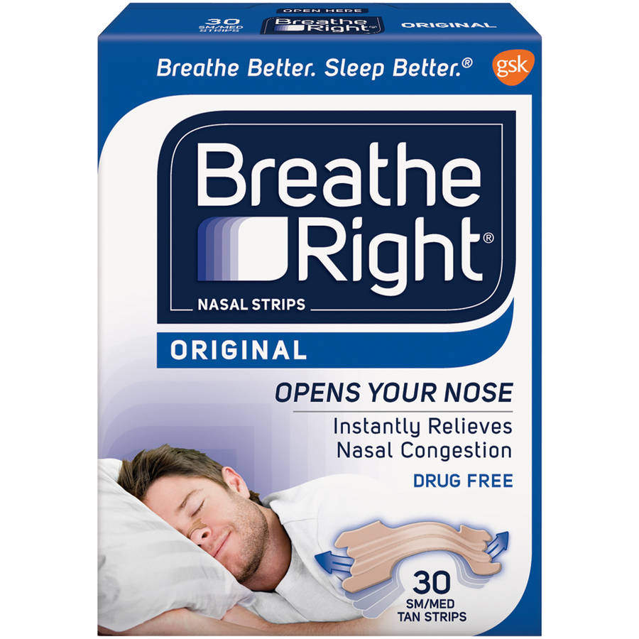 Breathe Right Original Nasal Strips, Tan Color, Drug Free, Small/Medium Size, 30 Strips