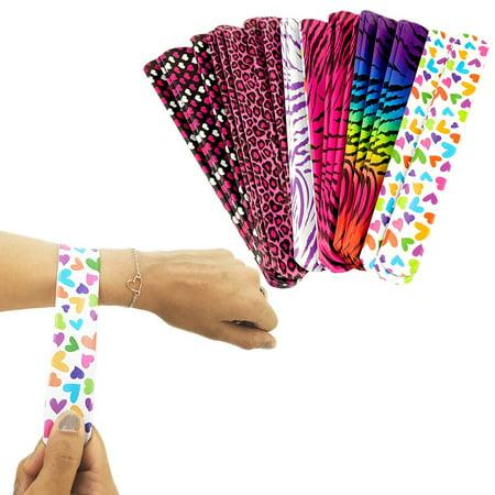 25 Pack Colorful Slap On Vinyl Plastic Bracelets - Bright Neon Retro 90's Style - Heart Tiger Animal Prints Pattern - Girls Party Bracelet Favors Birthday Classroom Prizes, 25 Assorted Slap-On - 90s Slap Bracelets