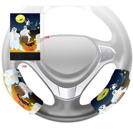 YKCG Halloween Party Fantasy Ghost Moon Steering Wheel Cover Hook and Loop Covers Size 10x16cm Set of - Halloween Interior Design