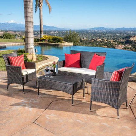 Christopher knight home malta outdoor 4 piece wicker chat for Outdoor furniture malta