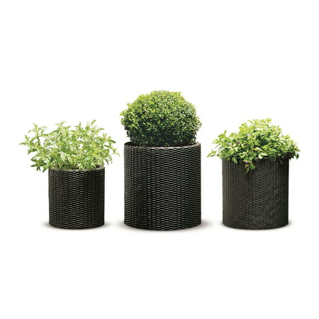 Keter Rattan Cylinder 3-Piece Planter Set, Brown Wicker (Hexagon Planter Set)