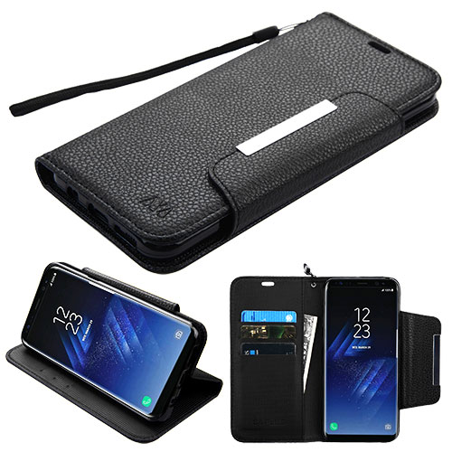 For Samsung Galaxy S8 Black MyJacket Leather Flip Wallet Protector Case Cover