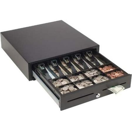 MMF POS 16 x 16 - VAL-u Line Printer Driven Cash Drawer - 4 Bill - 8 Coin - 2 Media Slot - 3 Lock PositionPrinter Driven - Steel, ABS Plastic - Matte Black - 4