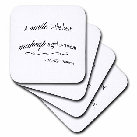 3dRose A smile is the best makeup a girl can wear, Marilyn Monroe quote - Soft Coasters, set of 4 (The Best Girls)