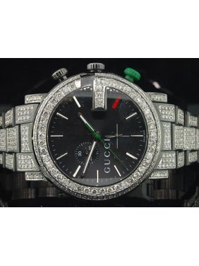 611022e9c2c Product Image Diamond Gucci Watch Ya101331 Mens 16.50 CT Custom G  Chronograph Fully Iced Band