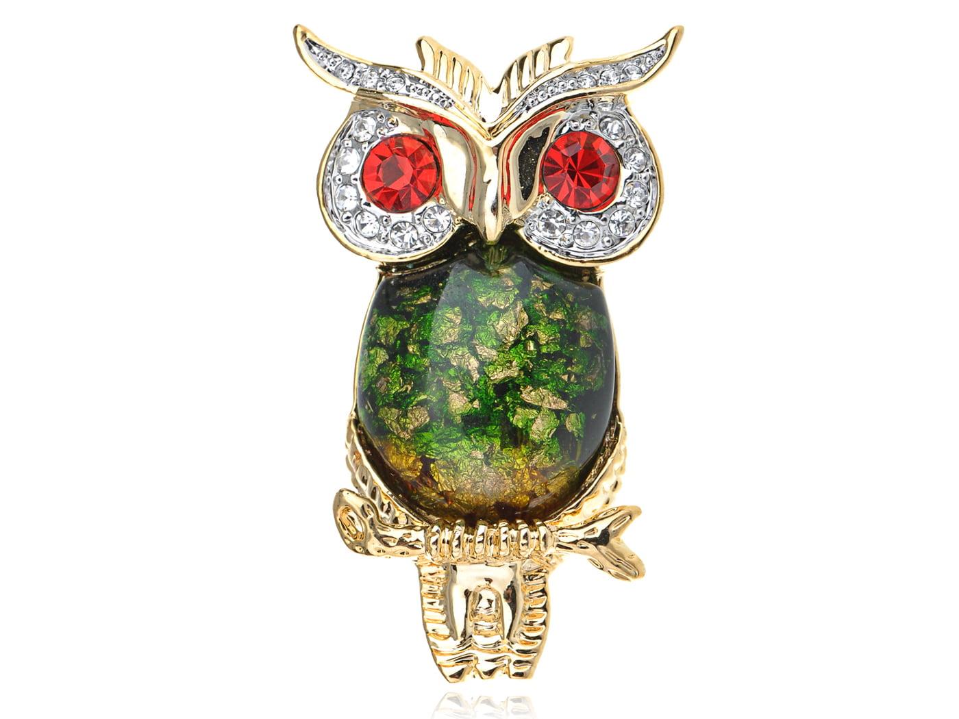 Ruby Red Crystal Rhinestone Eye Green Gold Tone Foil Bead Owl Bird Pin Brooch by