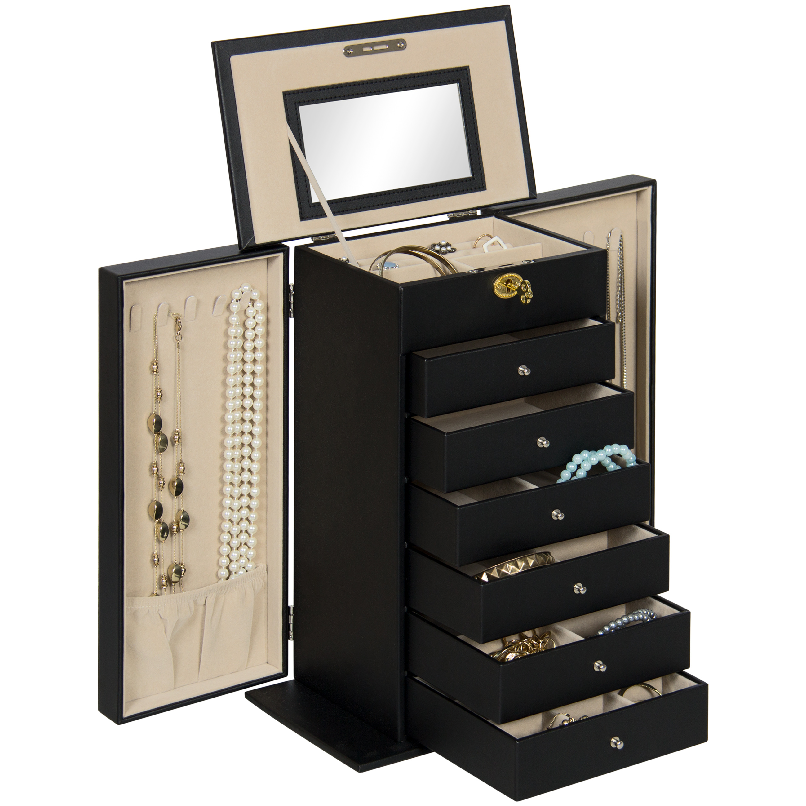 Best Choice Products Handcrafted Leather Jewelry Box Organize Armoire Cabinet