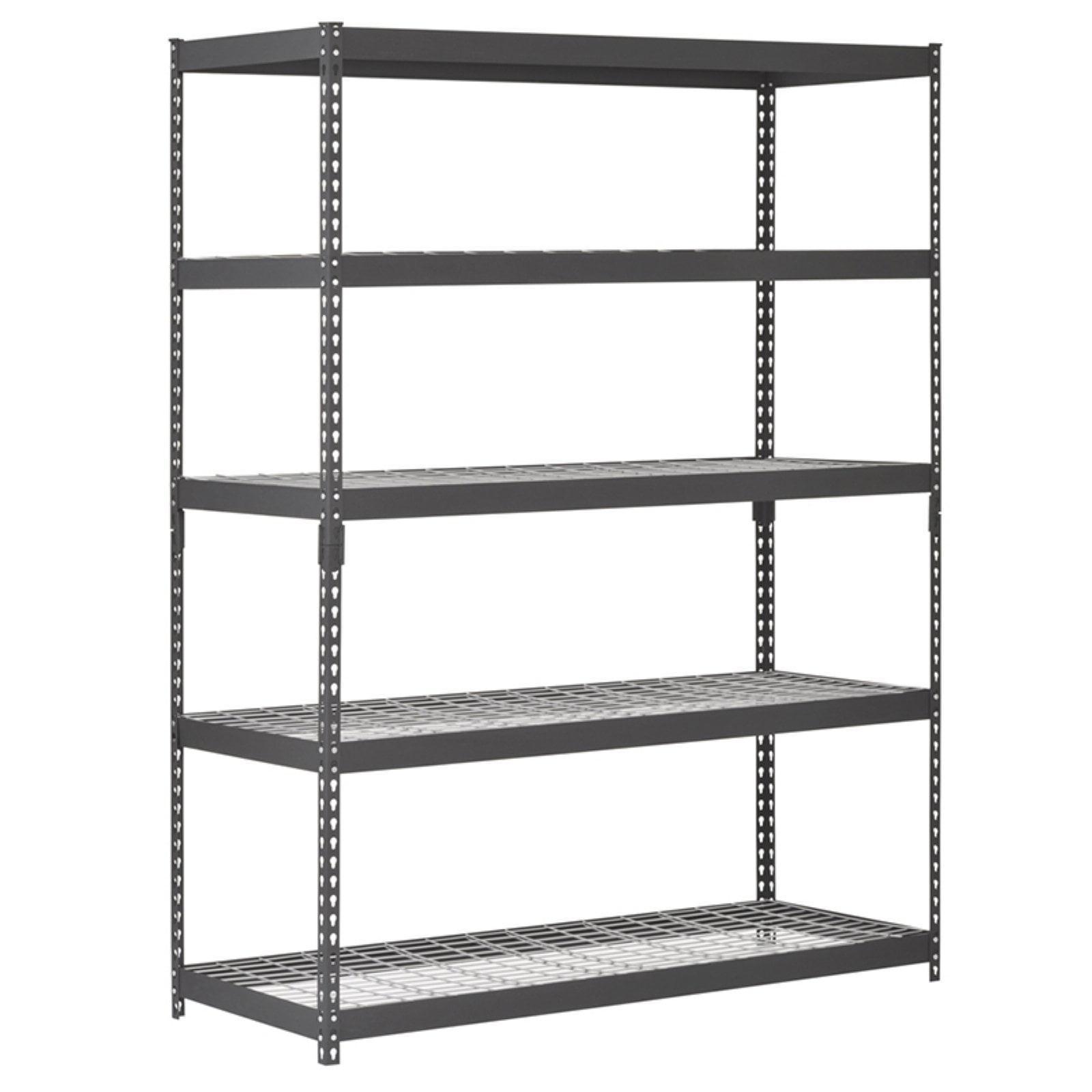 Muscle Rack 60 W X 24 D X 78 H 5 Shelf Heavy Duty Steel Shelving Unit 4000 Lb Capacity Black Walmart Com