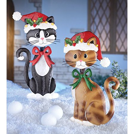 Set Of 2 Adorable Metal Christmas Cats Lighted Santa Hat Brown Tuxedo Kitties Holiday Lawn Yard Outdoor Decoration