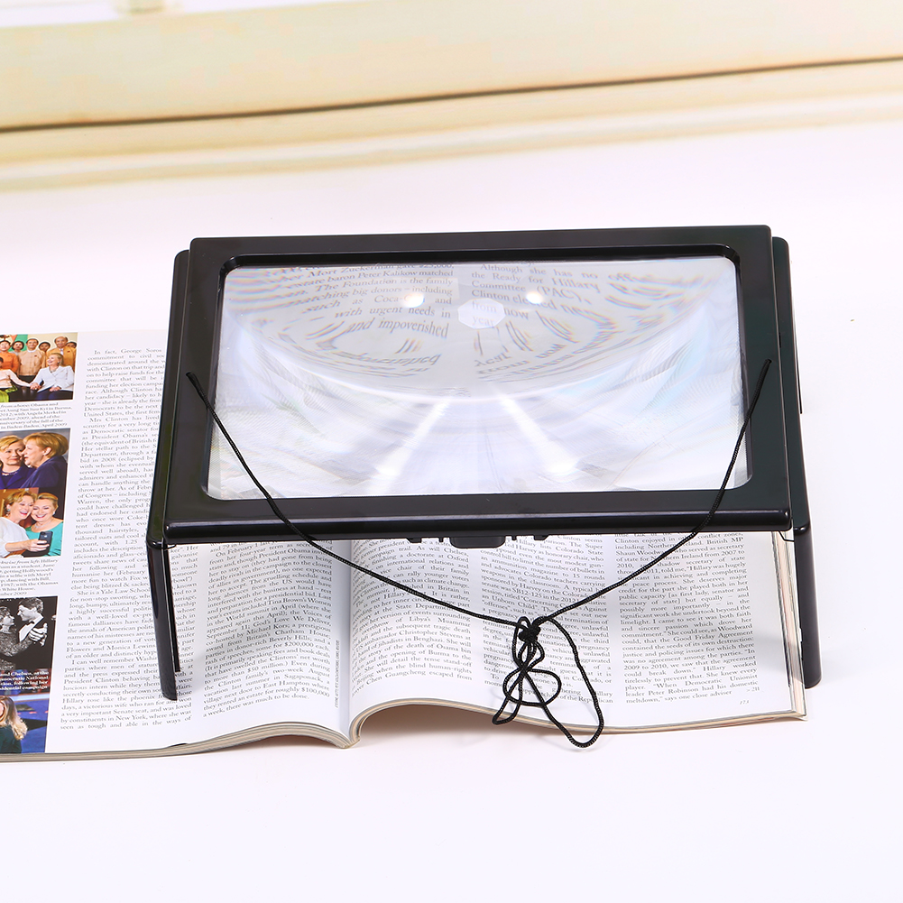 4A 3X Large Lighted Reading Foldable Desk Magnifier Magnifying Book Glass Light Led Aid Loupes