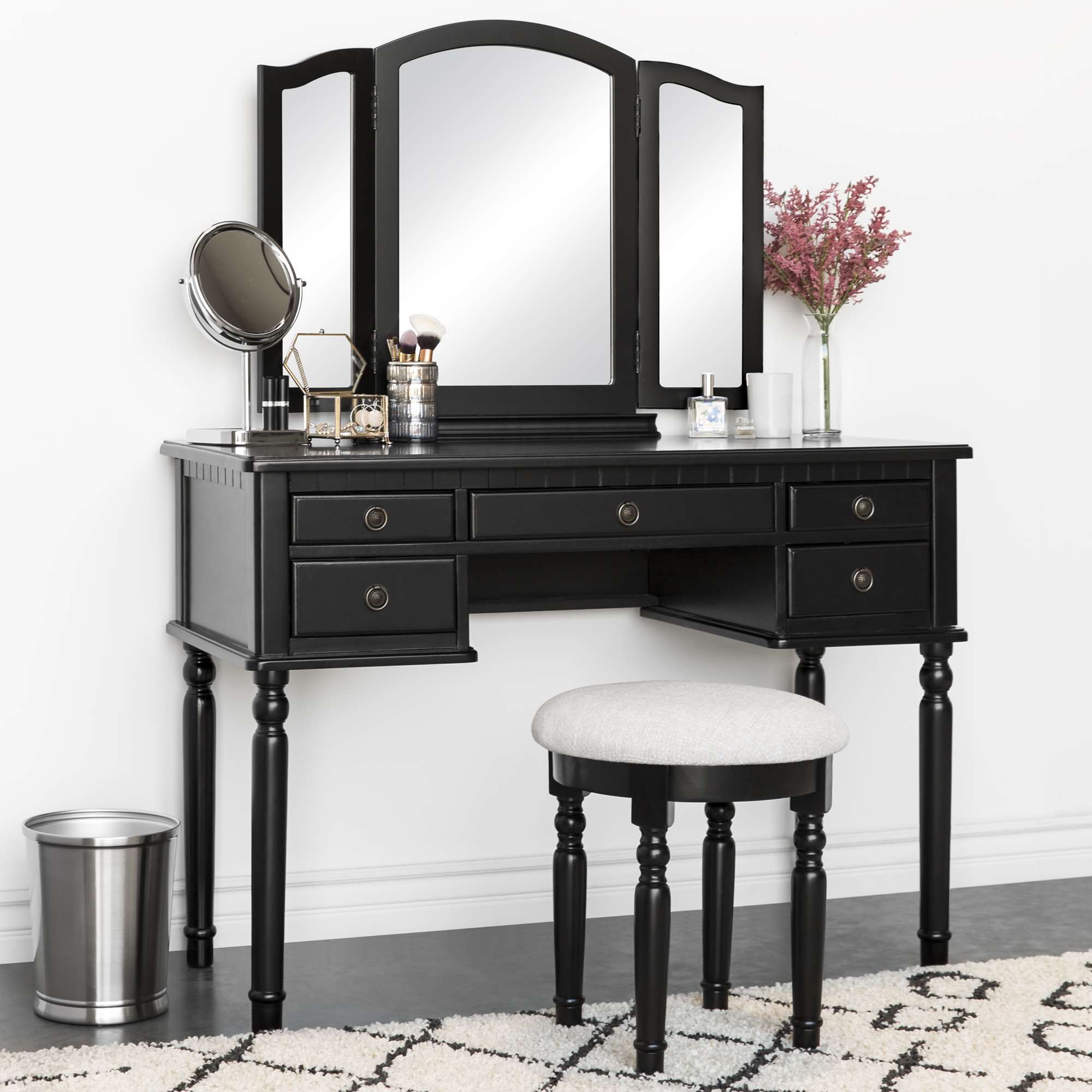 Best Choice Products Bedroom Makeup Cosmetic Beauty Vanity Hair Dressing Table Set w/ Tri-Folding Mirror, Upholstered Stool Seat, 5 Drawer Storage Organizers - Black