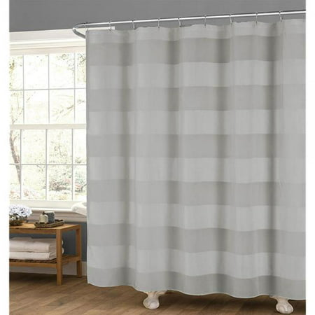 Gray Fabric Shower Curtain: Wide Stripe Design, 70 x 72