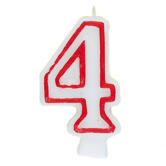 Number 4 Birthday Candle, 2.75 in, Red and White, 1ct