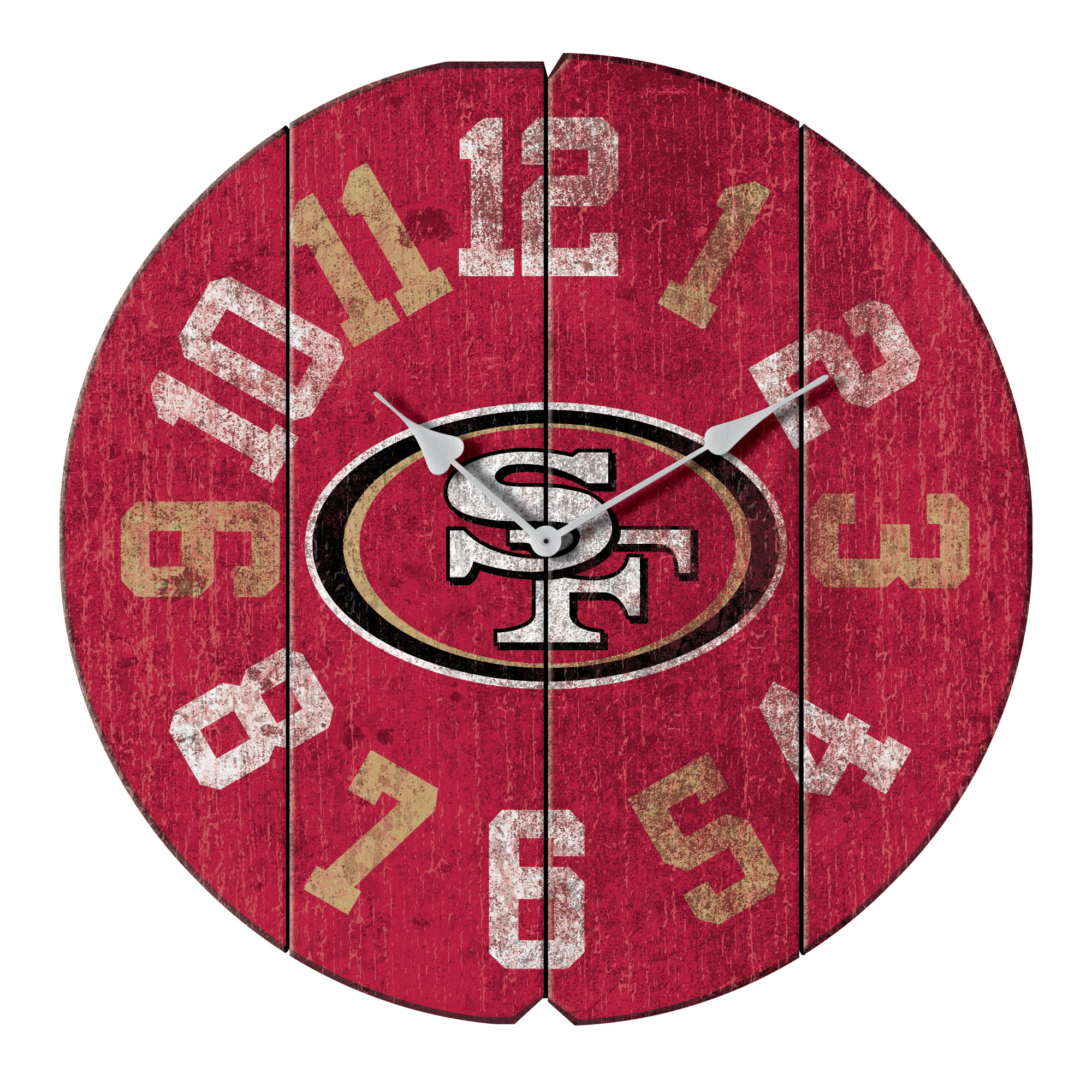 "San Francisco 49ers 16"" Vintage Round Wall Clock - Scarlet - No Size"