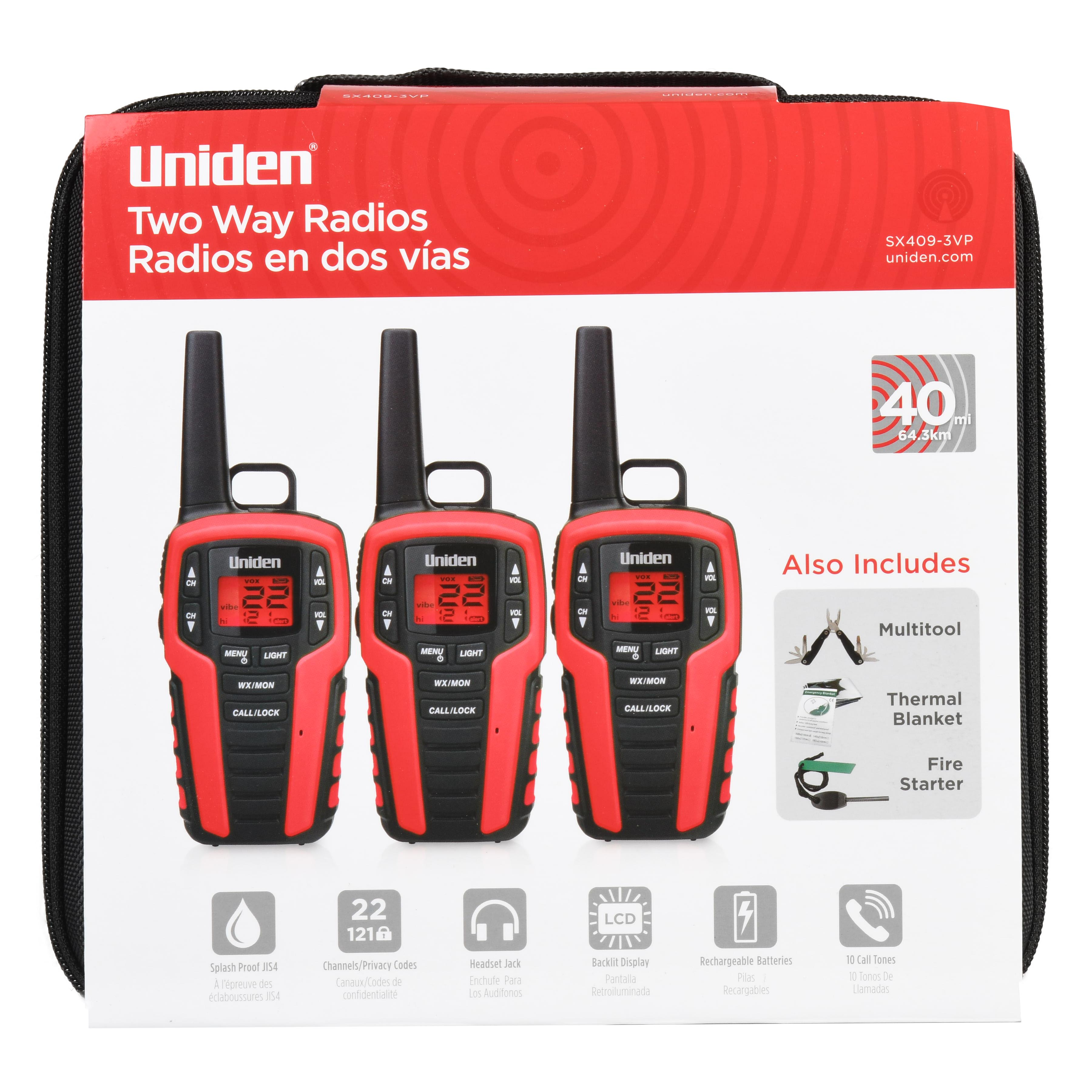 Uniden 40 Mile 22 Channel Two Way Radios Black Red 3 Pack Sx409 3vp Walmart Com Walmart Com