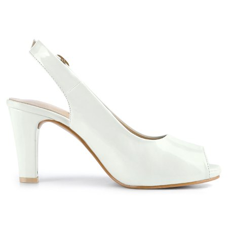Women's Peep Toe Dress Slingback Chunky Heel Pumps White US 7 - image 7 de 7