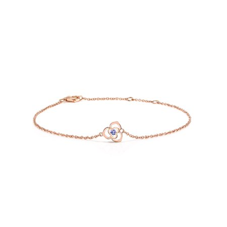 0.04 Ct Round Blue Tanzanite 10K Rose Gold Bracelet