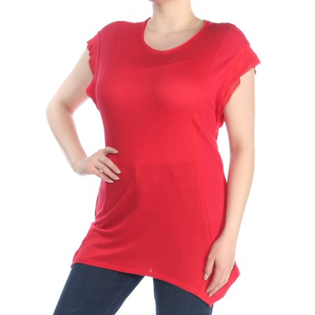 INC Womens Red Asymmetrical Contrast Detail Crew Neck Top  Size: XL