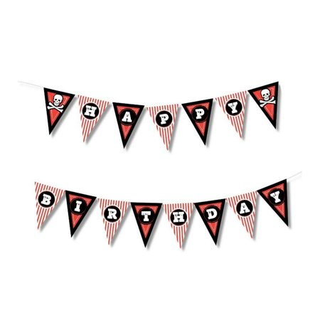 Pirate Happy Birthday Banner - Pre-Strung Birthday Wall Pennant Garland, Pirate Themed Supplies Party Decoration, 10.75 Feet Long