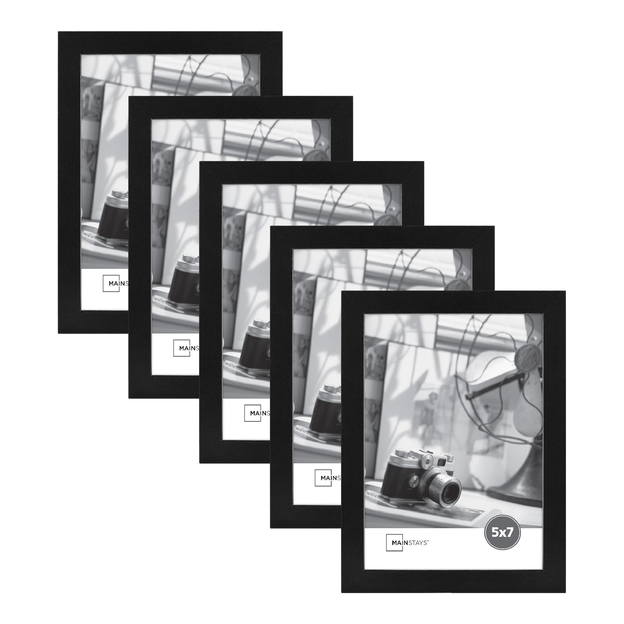 """Mainstays 5"""" x 7"""" Black Wood Frame Set of Five"""