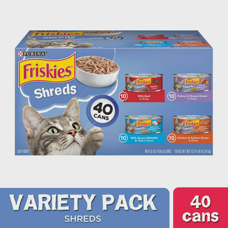 Friskies Wet Cat Food Variety Pack, Shreds Beef, Turkey, Whitefish, and Chicken & Salmon, 5.5 oz. cans, 40