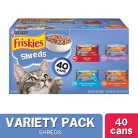 (40 Pack) Friskies Wet Cat Food Variety Pack, Shreds Beef, Turkey, Whitefish, and Chicken & Salmon, 5.5 oz. Cans