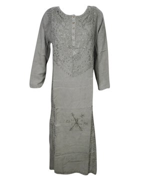 9b2e54e57e318 Product Image Mogul Womens Shift Tunic Maxi Dress Enzyme Wash Rayon Comfy  Embroidered Free Spirit Sundress