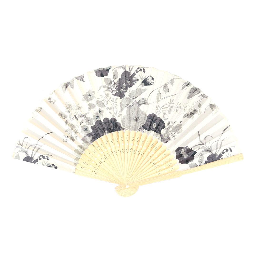 Wedding Bamboo Frame Flower Pattern Decorative Folding Dancing Hand Fan Gray - image 4 de 4