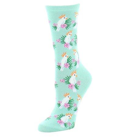MeMoi Cockatoo Bamboo Crew Socks One Size / Lichen MS7 905