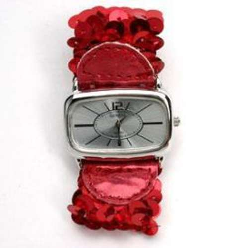 Geneva Sequin Band Fashion Watch - Red Sequins