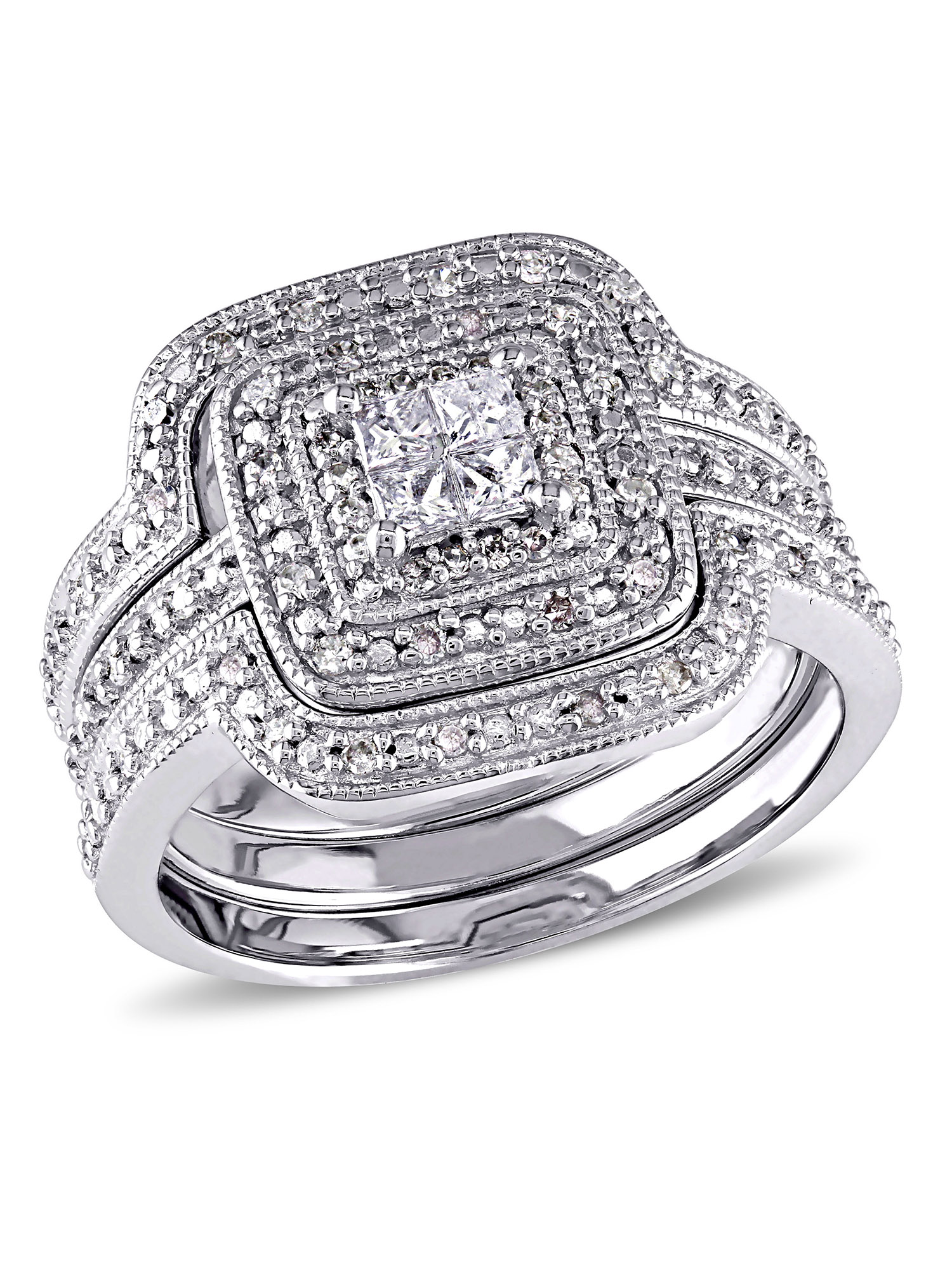 Miabella 3 8 Carat T.W. Princess and Round-Cut Diamond Sterling Silver Bridal Set by Miabella
