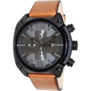 Men's Overflow DZ4317 Bronze Leather Quartz Watch