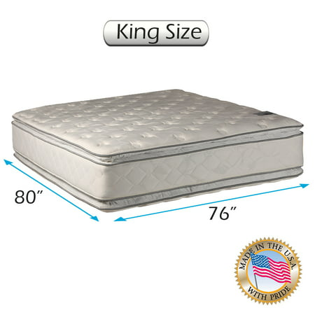 Dream Solutions USA Brand Double-Sided PillowTop Gentle Plush Mattress Only with Mattress Cover Protector Included - Fully Assembled, Orthopedic, Long Lasting Comfort (King 76