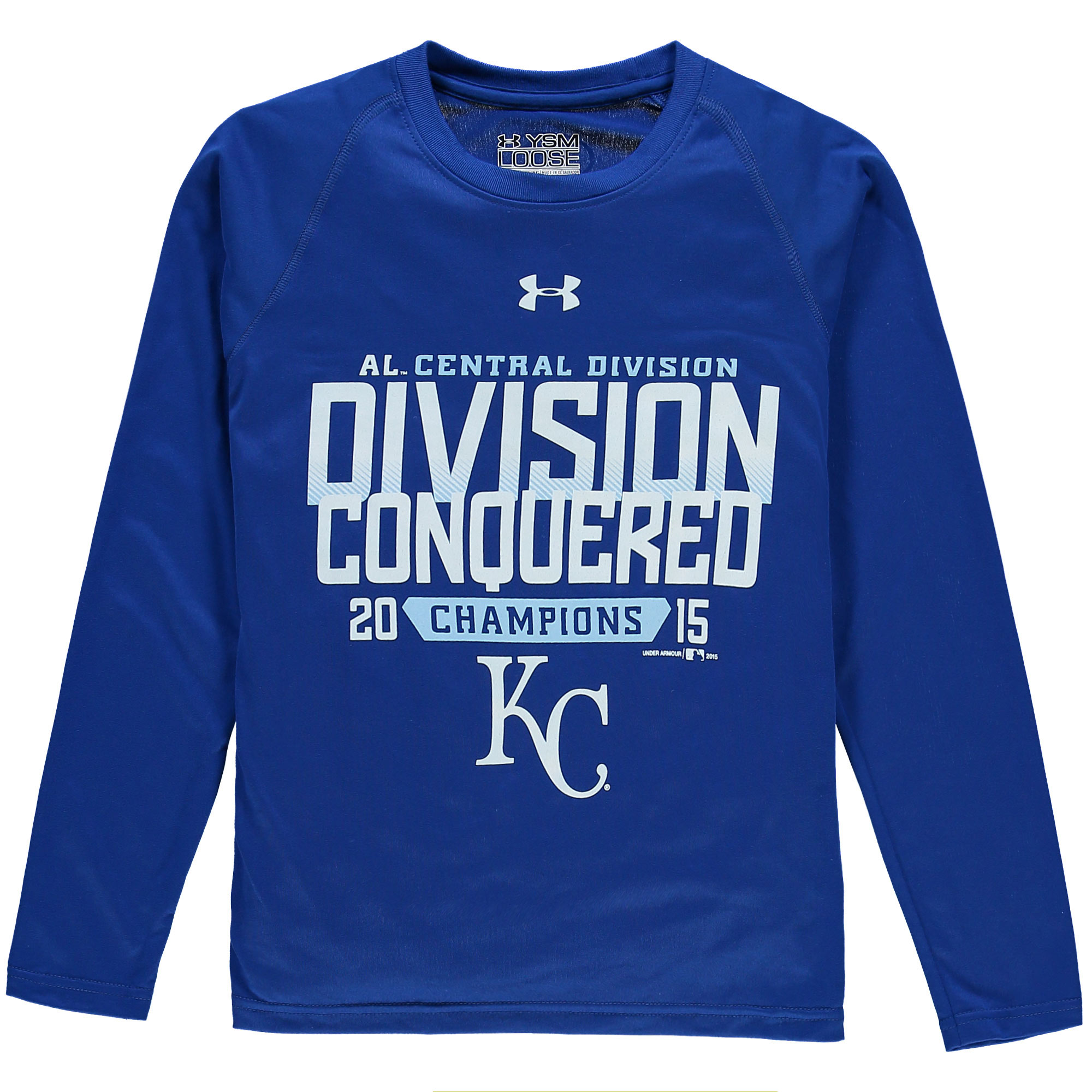 Kansas City Royals Under Armour Youth 2015 AL Central Division Conquered Tech Long Sleeve T-Shirt - Royal