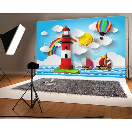 d610ca911bbe HelloDecor Polyster 7x5ft Photography Backdrop Cartoon Lighthouse Hot Air  Balloon Sailboats Golden Sun Rainbow Blue Sky White Cloud Sea Sailing ...