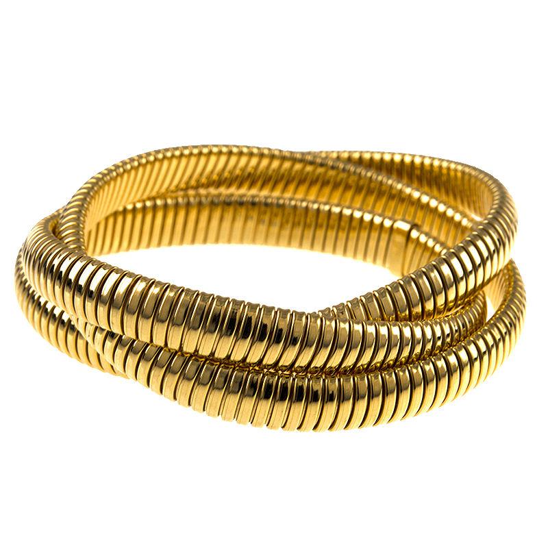 18k Yellow Gold 8.5mm x 3 Flexible Slip-On Ribbed Triple Bangle Bracelet by