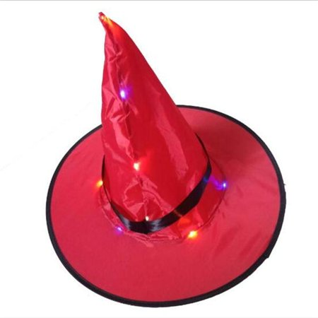 Halloween LED glowing witch hat(Red)