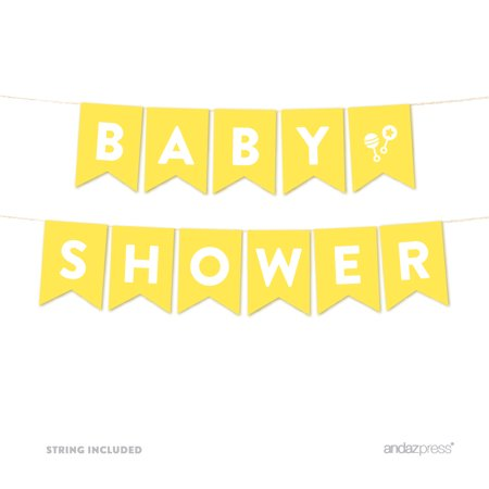 Baby Shower Yellow Gender Neutral Baby Shower Pennant Garland Party Banner for $<!---->