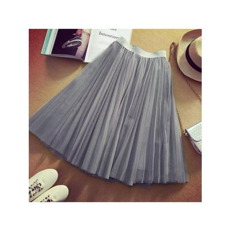 Lavaport 3 Layers Tutu Tulle Dresses Women High Waist Knee Length