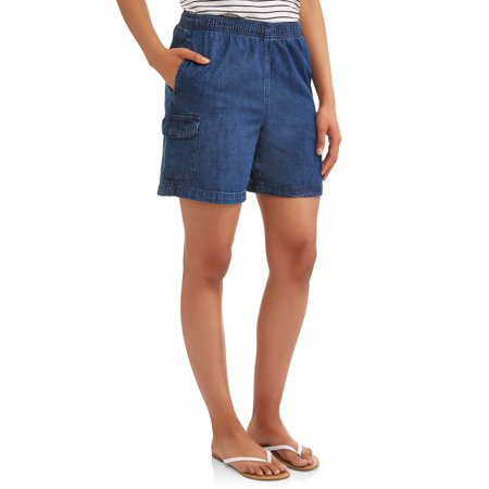 - Women's Pull On Denim Cargo Shorts